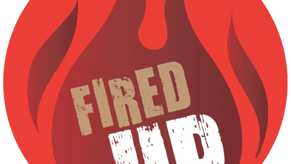 "Red circle with darker red flames and words ""Fired Up"""